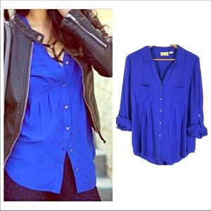 Anthropologie-Maeve-Cobalt Blue Button Down Tunic